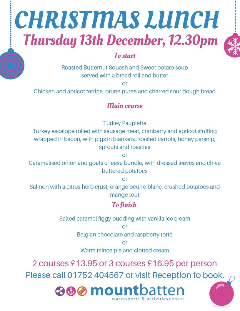 Christmas Lunch menu - Mount Batten Centre